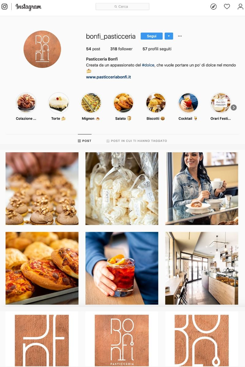 mockup Instagram pasticceria bonfi